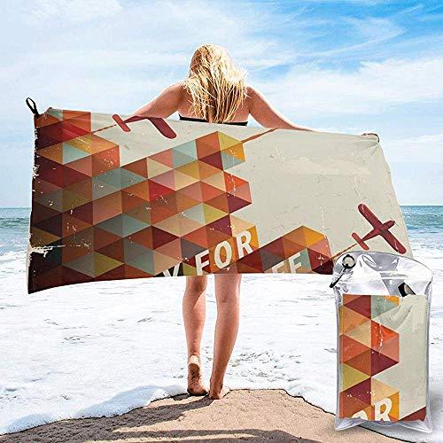JHDF Startbereit Retro Geometrisches Muster Dreiecke Wolken Flugzeuge Bad Schwimmbad Yoga Pilates Picknickdecke Strandtücher 80 * 130cm