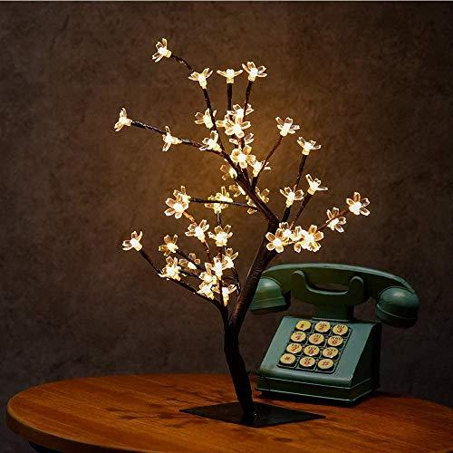 J & J Luces del árbol, Blanco cálido Lámpara de Mesa, de 18 Pulgadas de luz de la Flor de Cerezo de Cristal 48 LED, Pared Decorativos de Navidad Habitación Sala Principal,Warm White