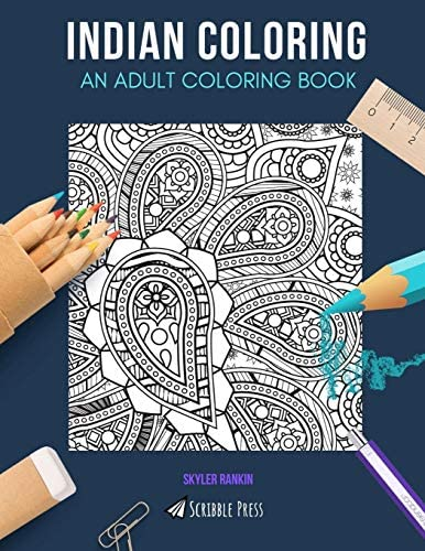 INDIAN COLORING AN ADULT COLORING BOOK India Indian Summer 2 Coloring Books In 1 product image