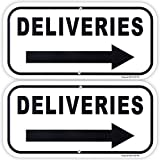 Enjoyist 2-Pack Deliveries with Right Arrow Sign 12'x 6' .04' Aluminum Reflective Sign Rust Free Aluminum-UV Protected and Weatherproof