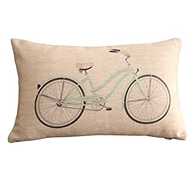 Clear Bicycle Print Rectangular Throw Pillow Covers 30CMx45CM Lumbar Cushions Linen Decorative Pillow Covers