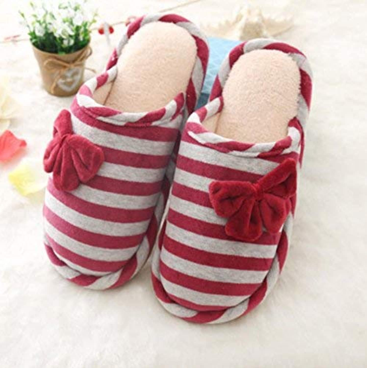 Lady Slippers Women's Home Slippers Indoor Non-Slip Warm Cotton Casual Slippers Bow Decoration Stripe Pattern Patchwork color Flip Flops