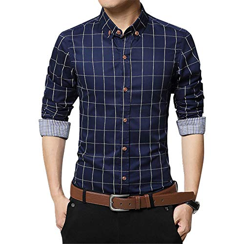 SFYZY Herren Button Cotton Shirt Mercerized Slim Langarm Plaid Business Shirt Einfarbig Multi Color Optionale Baumwolle Urban Revers Cardigan Oberbekleidung