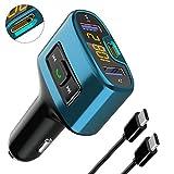 Transmisores FM Bluetooth, URAQT Mini Manos Libres Emisor Bluetooth, Reproductor MP3 Coche y Adaptador de Radio, Cargador de Coche USB Doble y Puerto de Carga Type-C, para Móviles,Tablet