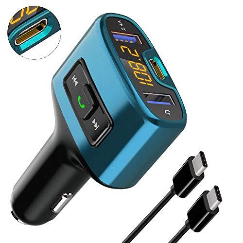 URAQT Transmisores FM Bluetooth, Mini Manos Libres Emisor Bluetooth, Reproductor MP3 Coche y Adaptador de Radio, Cargador de Coche USB Doble y Puerto de Carga Type-C, para Móviles,Tablet …
