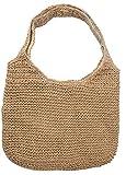 Dielay Damen Geflochtene Tasche Shopper 40x37 cm Braun