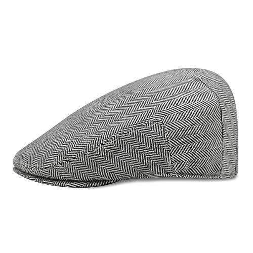 QQYZ Beret Herren Full-Cap Schirmmütze Simple Cotton Visor Hat Retro (56-58) Schwarz aus weißer Wolle Herringbone