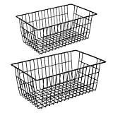 iPEGTOP Wire Stroage Baskets, Farmhouse Metal Wire Basket Freezer Storage Organizer Bins with Handles for Kitchen Cabinets, Pantry, Closets, Bedrooms, Bathrooms, 2 Pack, Black