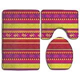 Goodsthing Tapis de Bain Vibrant Colored Striped Pattern Bath Mat,3 Piece Bathroom Rug Set, Flannel Non Slip Toilet Seat Cover Set,Large Contour Mat