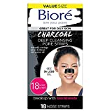 Bioré Charcoal, Deep Cleansing 18 Nose Strips for Blackhead Removal on Oily Skin, with Instant Pore Unclogging, Features Natural Charcoal (Packaging May Vary)
