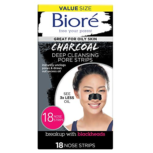 Bioré Charcoal Deep Cleansing Pore Strips, Nose Strips for Blackhead Removal on Oily Skin, with Instant Pore Unclogging, Features Natural Charcoal, See 3x Less Oil, 18 Count