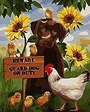 DIY Pintura por Números Pollo y perro Adultos Niños Principiantes Fácil pintando sobre Lienzo con Pinturas y Pinceles hogar decoración de casa (sin marco) 40 x 50 cm