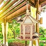 De madera que cuelga alimentador del pájaro de la yarda del jardín Decoración de forma hexagonal Con casero de la azotea de aves de montaje en pared exterior Nest Artes de madera Alimentador Decoració