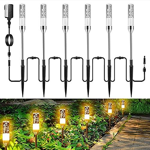 Gartenbeleuchtung Greenclick 6 Set Gartenleuchte mit Erdspieß, IP65 Wasserdicht Wegeleuchten mit Stecker, Landschaftslicht Gartenlampe mit Kabel 360lum, 2700K Außenbeleuchtung für Outdoor Rasen