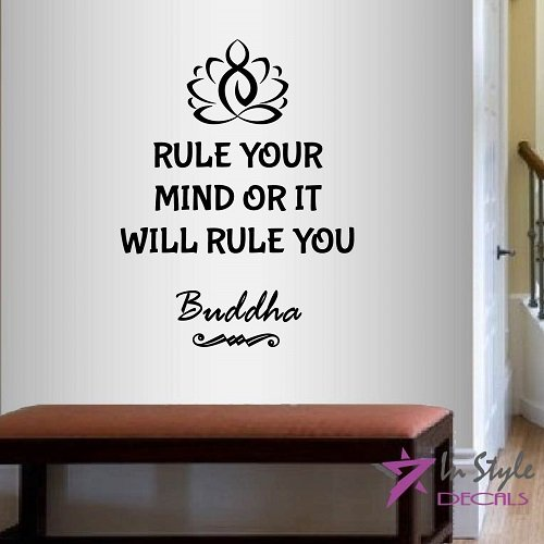 In-Style Decals Wall Vinyl Decal Home Decor Art Sticker Buddha Quote Rool Your Mind Or It Will Rule You Lotus Flower Yoga Symbol Room Removable Stylish Mural Unique Design 2190