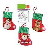 SZ-LY 2021 Medias Navideñas Paquete De 3 Calcetines Navideños para Niños 6.7'Medias Navideñas Pequeñas para Vacaciones Familiares Árbol De Navidad Decoraciones para Fiestas Navidad Chimenea Colgante