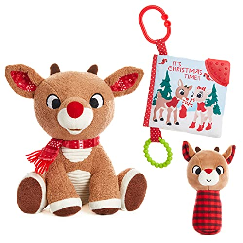 Rudolph The Red-Nosed Reindeer Set with Stuffed Animal, Plush Rattle, and Teether Activity Book