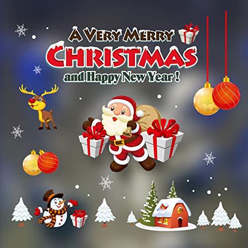 HNLY Weihnachtsschmuck Weihnachten Statische Aufkleber Alter Mann Schneemann Einkaufszentrum Glasfenster Aufkleber Weihnachtsaufkleber (2 StüCk) 70 * 50Cm