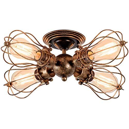 yanzz Lámparas de Techo Vintage, lámpara de araña de 4 Cabezas, zócalo Ajustable, lámpara de Jaula de Alambre de Metal Retro, Montaje Semi Empotrado, luz de Techo rústica, Interior, hogar, accesor