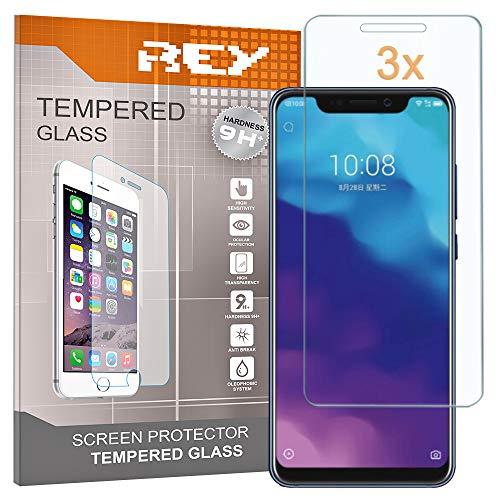 REY Pack 3X Panzerglas Schutzfolie für ZTE AXON 9 PRO, Bildschirmschutzfolie 9H+ Festigkeit, Anti-Kratzen, Anti-Öl, Anti-Bläschen