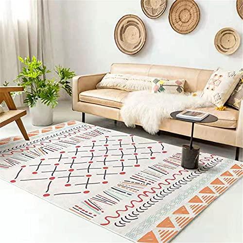 WCCCW Patrón étnico geométrico Colorido, Colores Brillantes, Resistente al Desgaste, Sala de Estudio a Prueba de Manchas, salón, Mesa de café Alfombra decorativa-80x160cm para el salón fácil de Limp