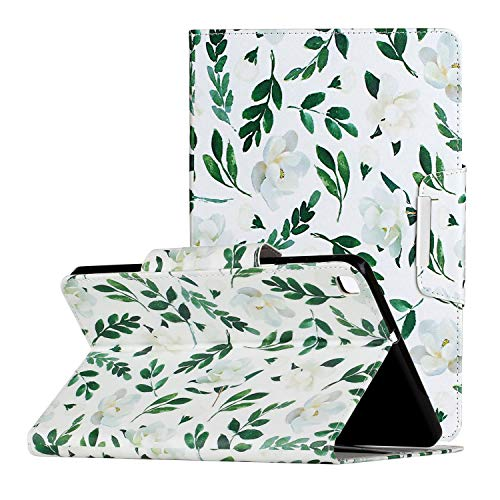Uliking Galaxy Tab A 10.1 inch 2019 Case SM-T510/SM-T515 Cover, Colorful Painting PU Leather Folio Stand Case with Card Slots for Samsung Galaxy Tab A 2019 SM-T510/T515, Green Leaf