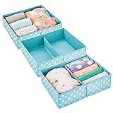 mDesign 3er-Set Aufbewahrungsboxen für Kleidung, Babysachen usw. – Kinderzimmer Aufbewahrungsbox aus Stoff – Kinderschrank Organizer mit je 2 Fächern – türkis und weiß