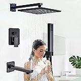 Grifos de ducha Ducha Conjunto de ducha Sistema Negro oculta duchas grifos de latón conjunto ducha de lluvia cabeza Grifo monomando baño ducha mezclador grifo ducha de mano Sistema de Ducha
