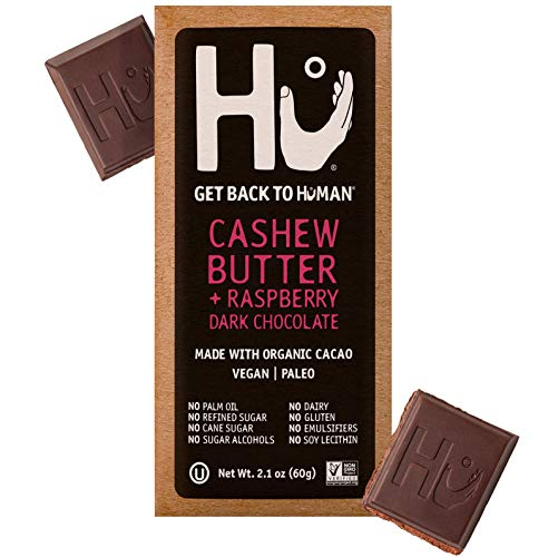 Hu Chocolate Bars | 4 Pack Raspberry Jelly Cashew Butter Chocolate | Natural Organic Vegan, Gluten Free, Paleo, Non GMO, Fair Trade Dark Chocolate | 2.1oz Each