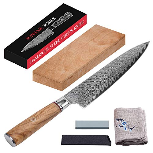 8quot Damascus Steel Chef Knife Set | Master Maison AUS10 Japanese Stainless Steel Chef#039s Knife | Edge Guard Cover Sharpening Stone Drying Cloth amp Gift Box Holder Included