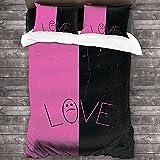 Lil Peep Duvet Cover Pink Black Smiley 3D Biancheria da letto Set 3PCS Copertura consoliera classica Copertura piumino Set per ragazzi bambino adolescenziale ragazze-Doppia dimensione: 200x200cm