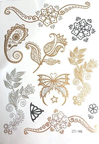 Strass ET Paillettes - Tatouages éphémères métallique Waterproof Papillon Fleur. Tatoo temporaire Or - Bijou de Peau.