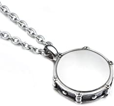 AZFVB Rock Drum Necklace for Men's Drummer Gifts Women Stainless Steel Music Drumstick Pendant Necklaces Charm Jewelry