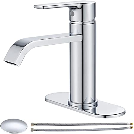 VOTON Bathroom Faucet Chrome Waterfall Faucet for Bathroom Sink 1 Hole Single Handle Basin Tap with Pop Up Drain