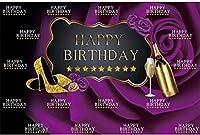 HD 10x7ftビニールハッピーバースデーパーティーの背景写真のハイヒールシャンパン紫の花の背景誕生日パーティーの装飾バナー写真ブース撮影スタジオの小道具