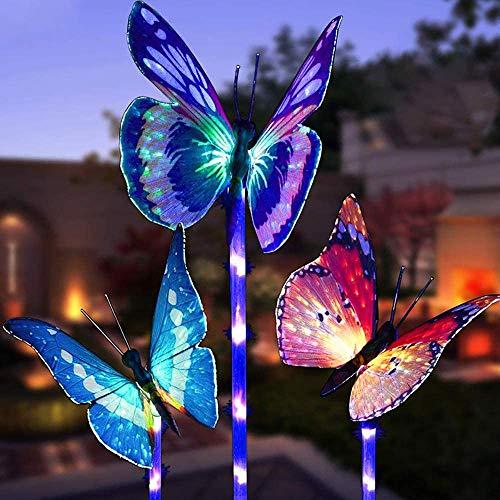Luci solari da giardino a forma di farfalla,MMTX 3 pezzi Luce di palo solare cambiamento di colore Luci giardino LED Fibra ottica Farfalle Decorazioni per feste all'aperto Prato Cortile Sentiero