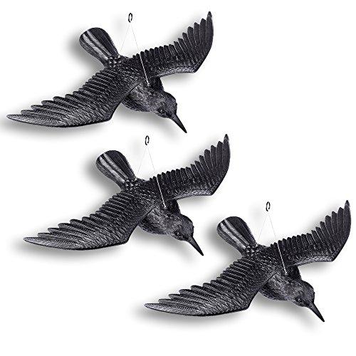 Schramm® 3 Stück Fliegende Krähen schwarz Taubenschreck Vogelschreck Kunststoff Rabe Taubenabwehr Vogelabwehr Vogelscheuche
