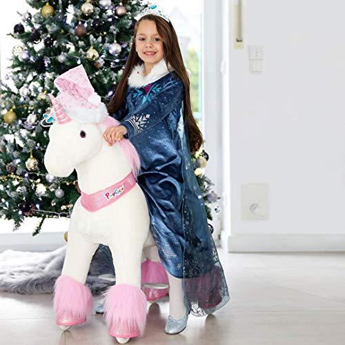 PonyCycle Officiel Classique U Série Montez sur Une Licorne en Peluche avec Un Animal Qui se promène, Licorne Rose pour Les Enfants de 4 à 9 Ans, Taille Moyenne U402