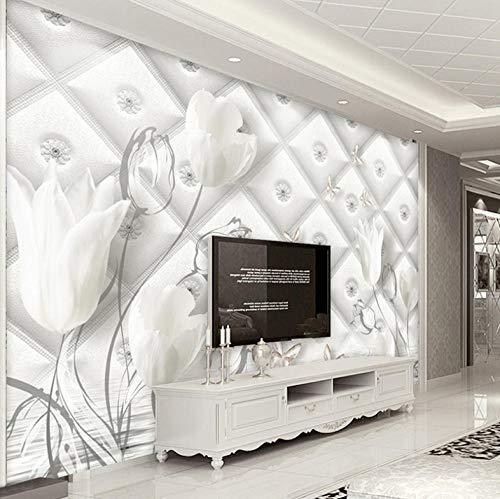 Benutzerdefinierte 3D Fototapete Moderne Weiße Calla Lilie Blume Stereo Weiche Tasche TV Hintergrund Tapete Wandbild_400 X 280CM