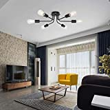 H.W.S Deckenlampe Vintage Metall Deckenleuchte, moderner Stil Kronleuchter 6 Licht Deckenbeleuchtung Deckenstrahler für Esszimmer Wohnzimmer Foyer kinderzimmer schlafzimmer bad (Schwarz)