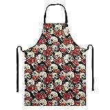 Sapotip - Grembiule da cuoco con motivo a teschio, motivo floreale, da cucina, con tasca e grembiuli regolabili per cucinare e giardinaggio