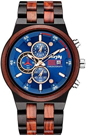Wooden Watch Chronograph Watches Stylish Wood and Stainless Steel Combined Quartz Casual Wristwatches Ebony Red and Blue Surface WeeklyReviewer