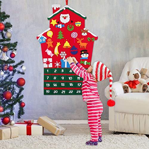 FunPa Calendari dell'avvento, Calendario Natalizio Feltro Albero di Natale Calendario dell'avvento Regali di Natale per Bambini Casa Vacanza Natale Decorazioni di Appendere a Parete