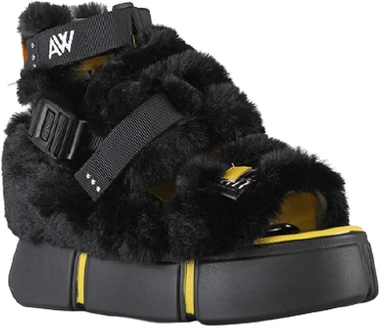 Women's Chunky Platform Wedge Faux Fur Platform Sandals