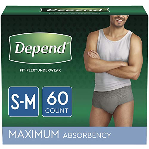 Depend FIT-FLEX Incontinence Underwear for Men, Maximum Absorbency, Disposable, S/M, Grey, 60 Count (2 Packs of 30) (Packaging May Vary)