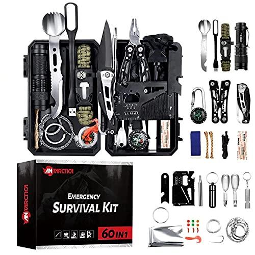Kit de Supervivencia Militar Profesional de Tercera Generación Emergencia Montaña Excursión Senderismo (Kit 60 en 1 No Boligrafo)