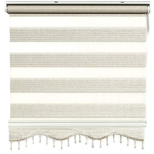 Doppelrollo Duorollo Zebrarollo Beige glänzende Fenster Tür Rollos mit Volant Perlen 120 x 200 cm
