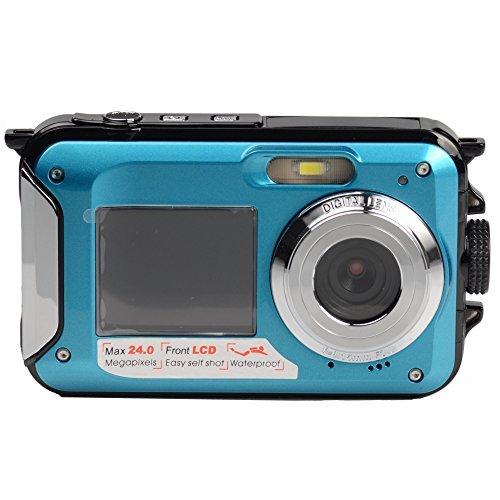 HEYA Waterproof Digital Video Camera HYS09 24MP 16X Digital Zoom HD1920x1080 Double TFT-LCD 2.7inch Home Screen 1.8inch Front Screen (BLUE)