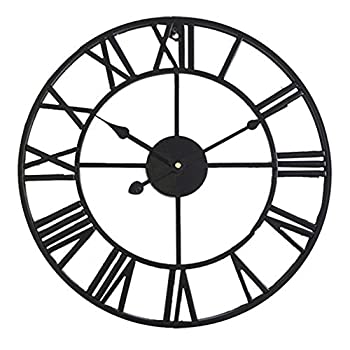 HOIBAI 16  Rustic Large Wall Clock Round Oversized Metal Roman Numeral Style Silent Vintage Black Wall Clock Modern Home Decor for Living Room Kitchen Office  Black 16 Inch
