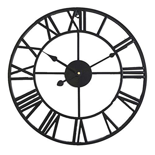 HOSTON Orologio da Parete Moderno Grande, Orologio da Parete Silenzioso Design Vintage con Numeri Romani 40 cm, per Cucina, Soggiorno, Ufficio, Scuola(Nero, 40cm)